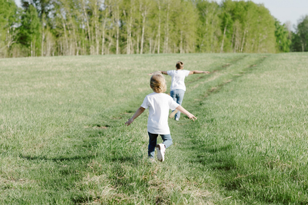 brother and sister play in the summer in the meadow