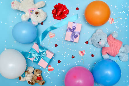 festive bright background with gifts and toys