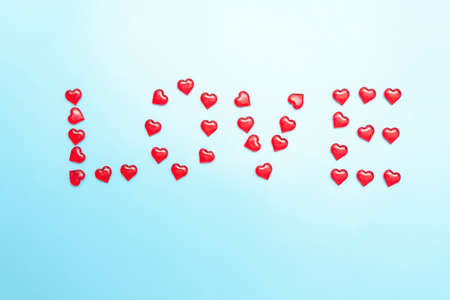 Photo of hearts from which the word is laid out - Love