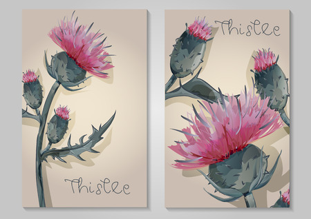 two postcards with Thistle hand painted