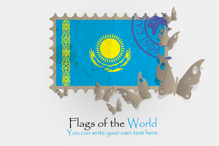 flag of Kazakhstan with butterflies from paper