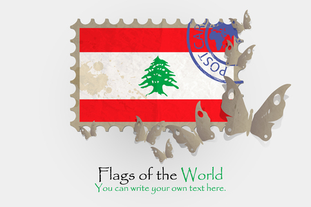 cut paper: vector flag measurements with butterflies from paper of Lebanon