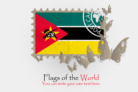 nationalism: vector flag measurements with butterflies from paper of Mozambique Stock Photo