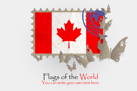canada stamp: vector flag measurements with butterflies from paper of Canada