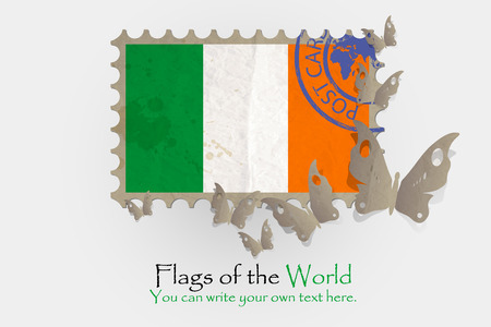 ireland flag: vector flag measurements with butterflies from paper of Ireland Illustration