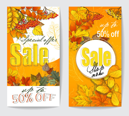 autumn sale flyer two with autumn leaves of maple, birch, oak, chestnut, circles with shadow