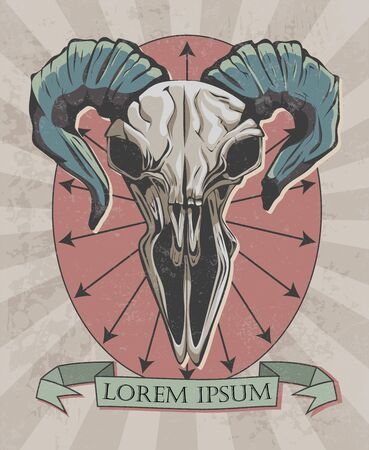 retro poster with goat skull