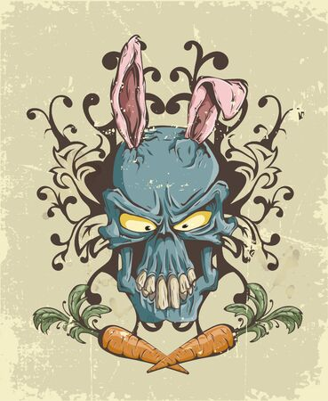 The skull of a hare with ears in graphics drawn manually with Parking in retro style with scuffs of blue, orange, pink flowers Çizim
