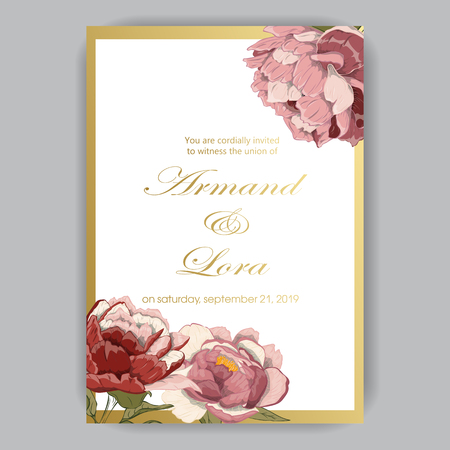 Wedding invitation with hand-drawn peonies red, pink, beige on light background