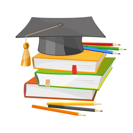 undergraduate: Back to school vector illustration of colorful books and black graduation hat isolated on white. Education, university, college symbol or knowledge, and colour pencils