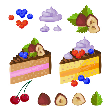 Set of chocolate sweets. A piece of delicious chocolate cake with cream on a plate. illustration hazelnut leaves cherries berry
