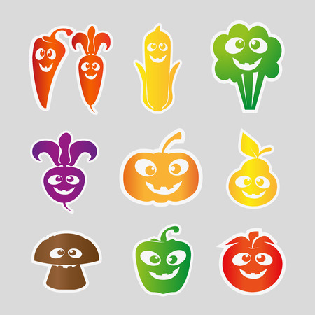 home grown: Cartoon fruit and vegetable collection . Vector Illustration, Stickers with funny eyes, Composition on white background Illustration