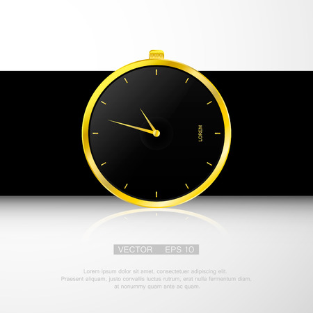 gold watch: Gold watch , black clock face. Classical modern watch. Isolated on white. Illustration