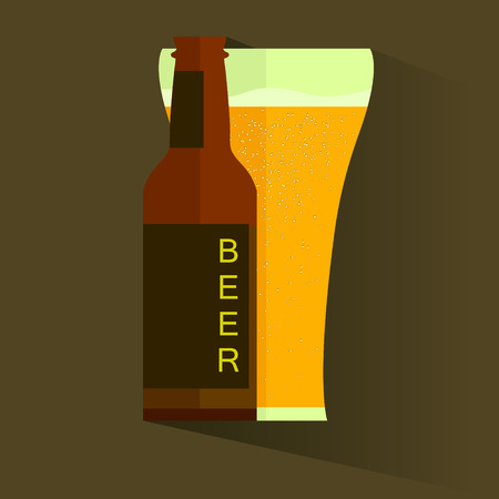 Retro beer poster. Vintage poster template for cold beer. Vector