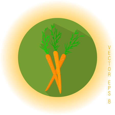 delectable: Three ripe carrots with green tops icon
