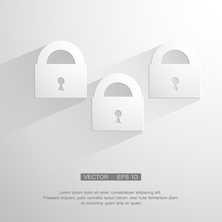 computer key: Vector modern white lock background.