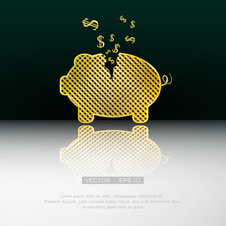 dime: Gold piggy bank. Vector background