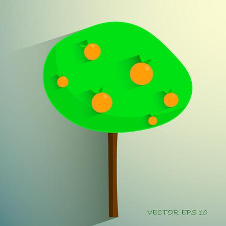 orange tree: simple stylized orange tree on light background.  Illustration