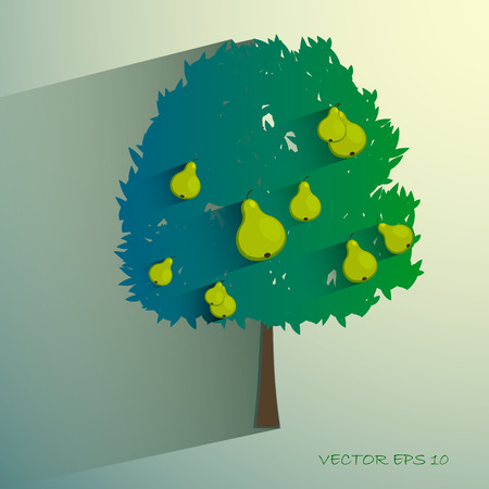 pear tree: vector pear tree isolated on light background.