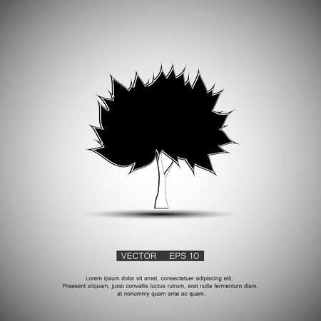 quercus: black tree silhouette isolated on white background,
