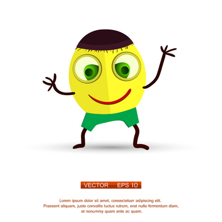 animated alien: Vector. Isolated funny cartoon character.