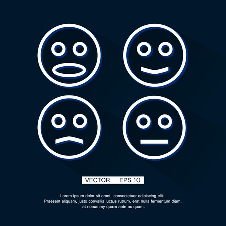 child tongue: Vector Smile Icon a flat shadow Set. eps 10