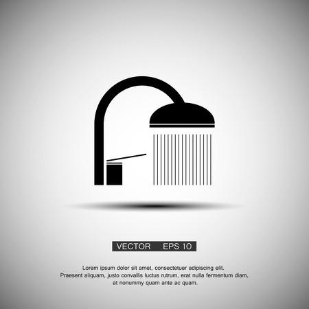 showering: shower spray black icon. vector eps 10