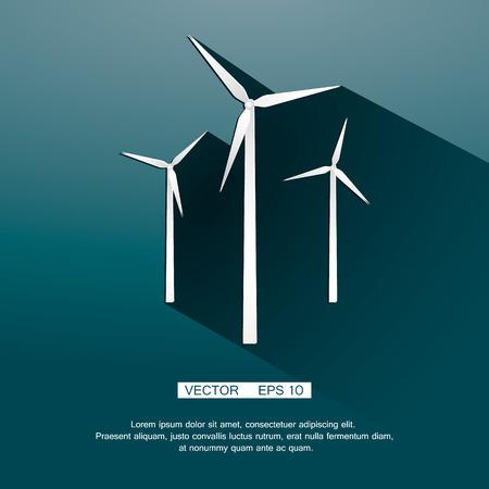 windfarm: vento icona turbina, concetto di eco. Eps vettoriale 10 Vettoriali
