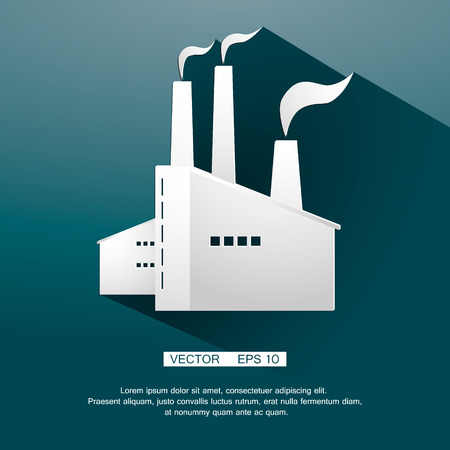 Icon of plant of industrial production. Vector illustration. Vector