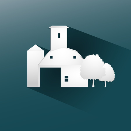Symbol farm stable  design, with a long flat shadow vector illustration eps10 graphic Vector