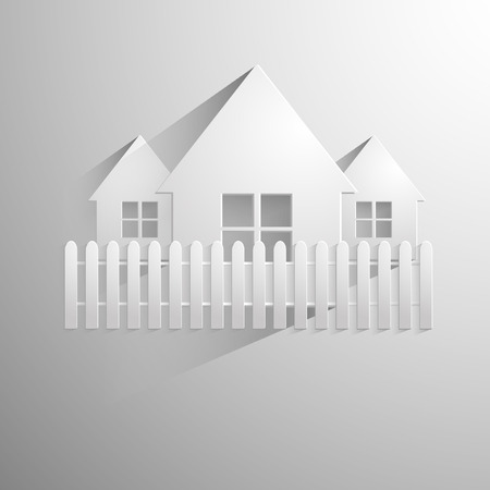 Illustration of a paper house isolated on a light background. Vector eps 10