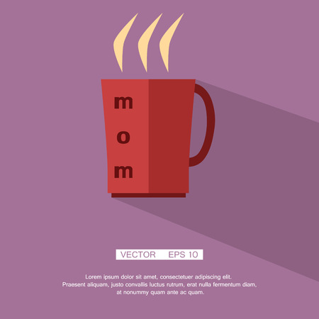 Hot red mug with tea labeled mom, icon, silhouette, flat. Vector. Element for design Eps 10 Vector