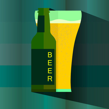 bier: Bottle and glass of beer icon in vintage style poster, vector illustration. Eps 10