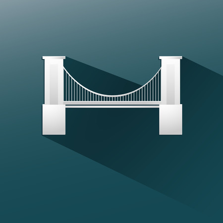 bridge in blue background, flat and shadow design. Vector Eps 10 Vector