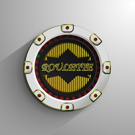 White and red roulette chip isolated on light background, vector illustration. Eps 10 Vector
