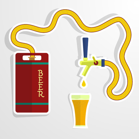 beer tap: Beer keg and glass.Vector background. Eps 10