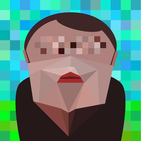 illustrazione uomo: piatta fumetto pantaloni a vita bassa, illustrazione vettoriale uomo con la barba. Eps 10