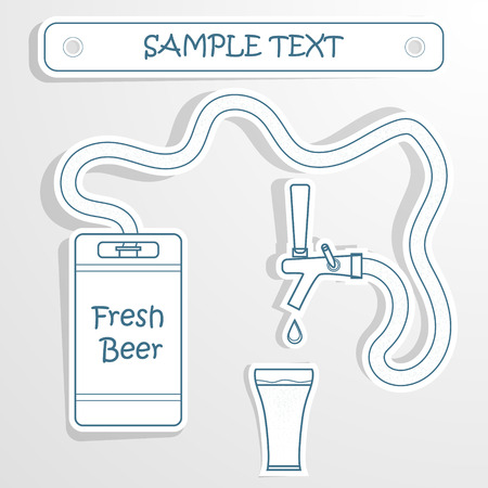 tankard: Beer keg and glass.Vector grunge background for text. Eps 10 Illustration