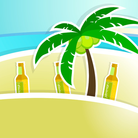 bar counter: Beer with foam on bar counter. Tropical resort background. Vector illustration