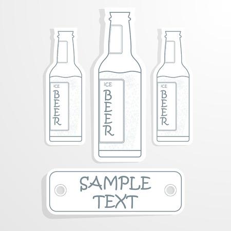 cheers: beer bottle cheers poster illustration. Vector eps10