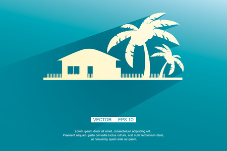 tropical beach panoramic: Styled bungalows and palm trees white with flat shadows on a blue background. vector background eps 10 Illustration