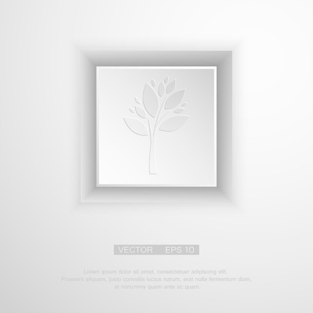 thick forest: Beautiful white paper tree with shadow, simple design. Vector