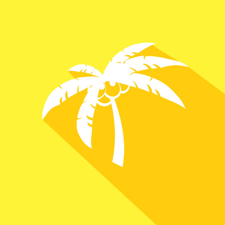 resorts: Coconut palm tree icons or symbols of travel- vector graphic. This illustration represents exotic travel destinations, tropical tourism places, beach and sea resorts and spas, etc.