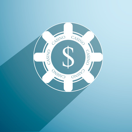 poker chip: poker chip. icon with long shadow. vector