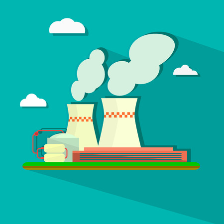Vector illustration of industrial power plant in flat style. Illustration