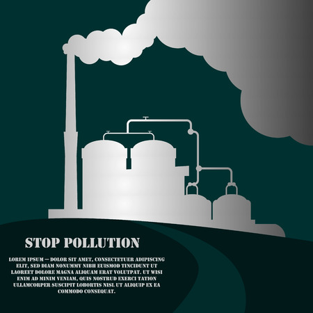 air pollution cartoon: Industrial factory buildings set in flat design style. Environmental pollution. Vector