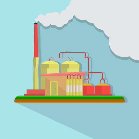 pollution: Industrial factory buildings set in flat design style. Environmental pollution. Vector
