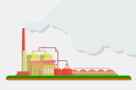 Industrial factory buildings set in flat design style. Environmental pollution. Vector