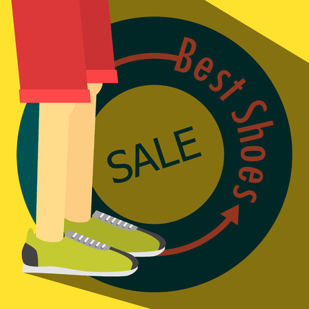 running shoes: SALE poster, running shoes. Vector banner Eps 10 Illustration
