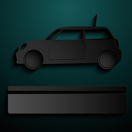 Abstract sign of automobile for sale. Simple illustration with stylized silhouette of vehicle. Vector Background with text box for presentation. Eps 10